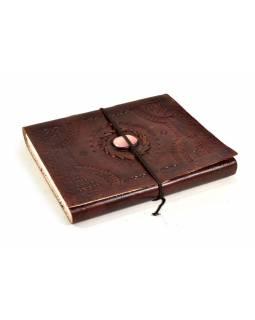 Notes v kožené vazbě s ozdobným kamenem, ruční papír, 15x20cm