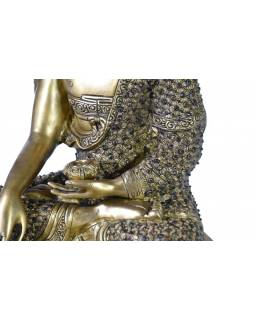 Buddha Šákjamuni, zdobený polodrahokamy, mosaz, 45cm