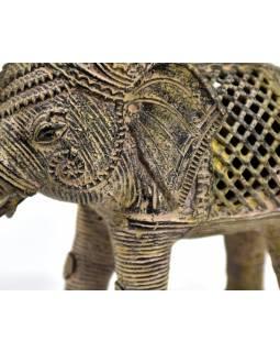 Kovová soška slona, tribal art, 15cm