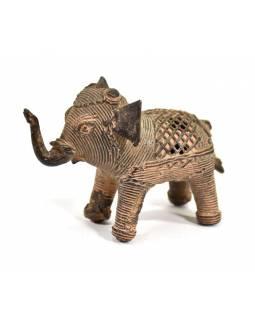 Kovová soška slona, tribal art, 8cm