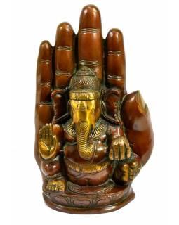Socha Ganéša v dlani, antik patina, výš. 23cm