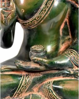 Buddha Amoghasiddhi, zelená antik patina, mosaz, výš. 20cm