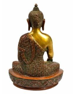Buddha Šákjamuni, antik zlatočervená patina, mosaz, výš. 21cm