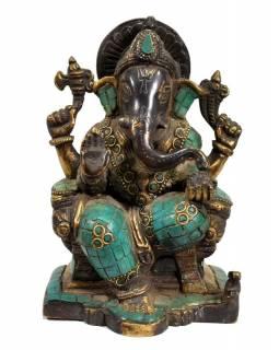 Ganesh, antik úprava, soška vykládaná polodrahokamy, mosaz, výš. 17cm