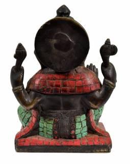 Ganesh, antik úprava, soška vykládaná polodrahokamy, mosaz, výš. 16cm