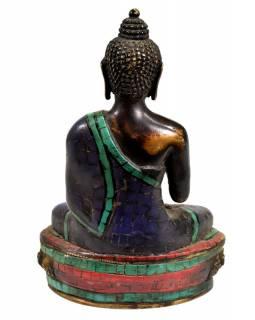 Buddha Amoghasiddhi, mosazná soška, antik úprava, vykládaná polodrahokamy, 21cm