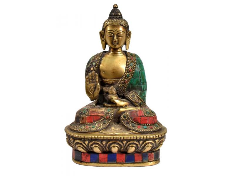 Buddha Amoghasiddhi, mosazná soška, antik úprava, vykládaná polodrahokamy, 18cm