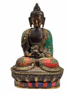 Buddha Amithaba, mosazná soška, antik úprava, vykládaná polodrahokamy, 18cm