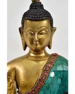 Buddha Amoghasiddhi, mosazná soška, vykládaná polodrahokamy, 15cm