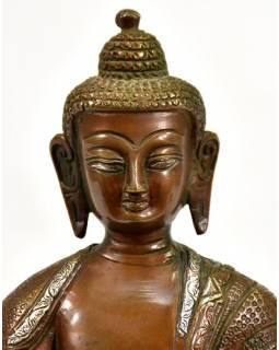 Buddha Amoghasiddhi, mosazná soška se stříbrnou intarzí, 21cm