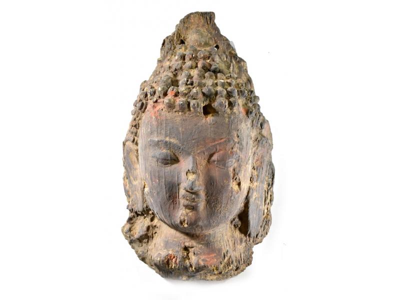 Unikátní maska hlava Buddhy, keramika v úpravě dřeva, 47cm