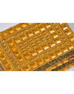 Bohatě zdobená šperkovnice, žlutá s korálky a kameny, 15x11x7,5cm