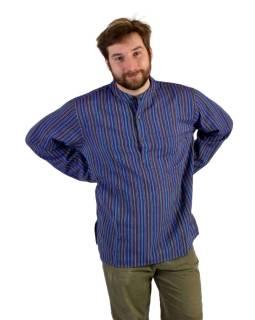 Pruhovaná pánská košile-kurta s dlouhým rukávem a kapsičkou, fialová