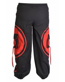 Unisex balonové kalhoty s aplikací spirály a kapsami, černo-červené