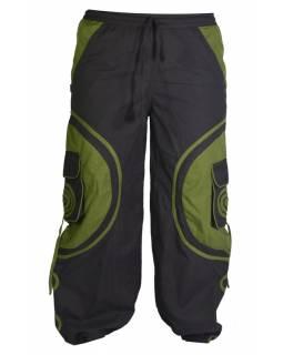 Unisex balonové kalhoty s aplikací spirály a kapsami, černo-khaki