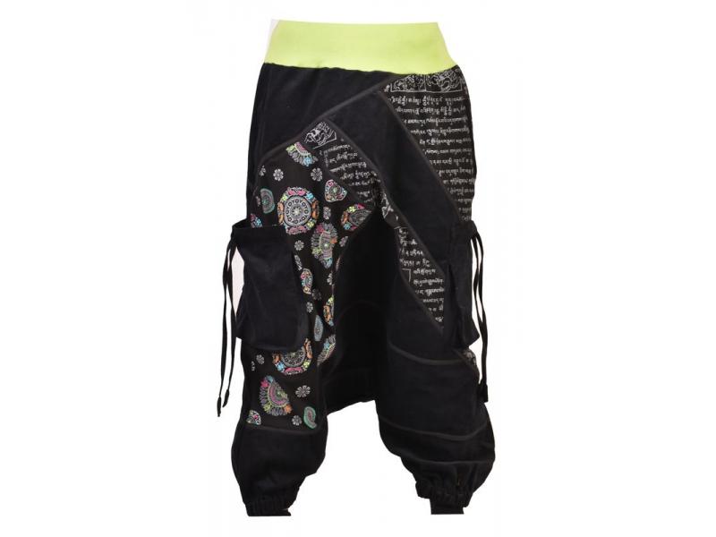 Dlouhé manžestrové turecké kalhoty, černo-zelené, Chakra tisk a výšivka, kapsy