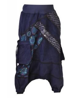 Dlouhé manžestrové turecké kalhoty, tmavě modré, Chakra tisk a výšivka, kapsy