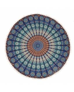 Bavlněný kulatý přehoz s mandalou, tmavě modrý, 190 cm