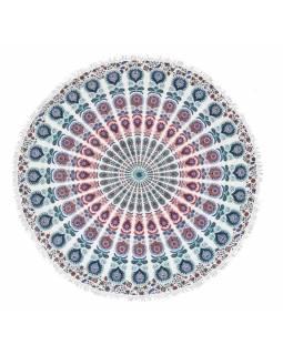 Bavlněný kulatý přehoz s mandalou, modro bílý, 190 cm