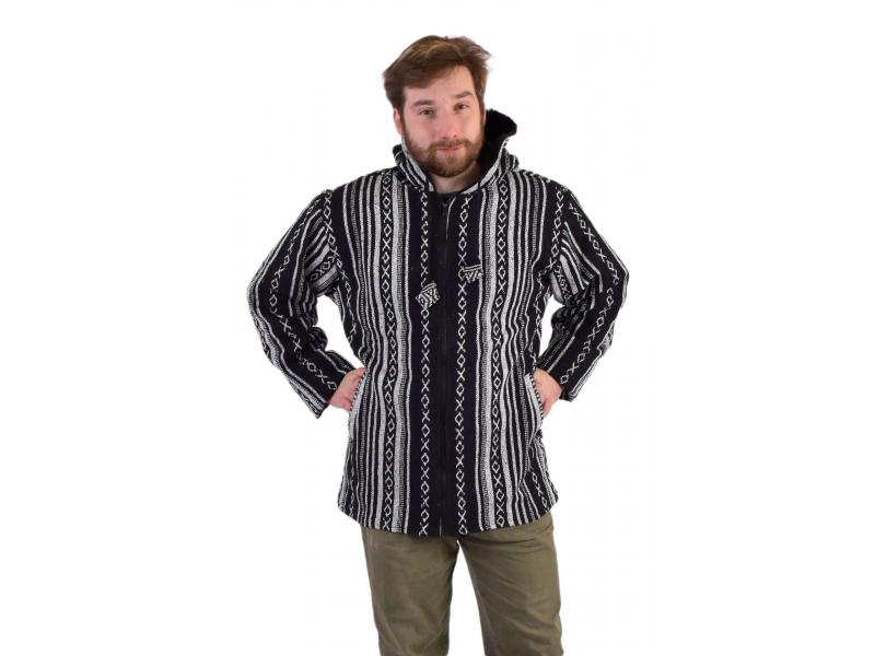 Unisex nepálská ghari bunda s kapucí, černobílá, zapínání na zip