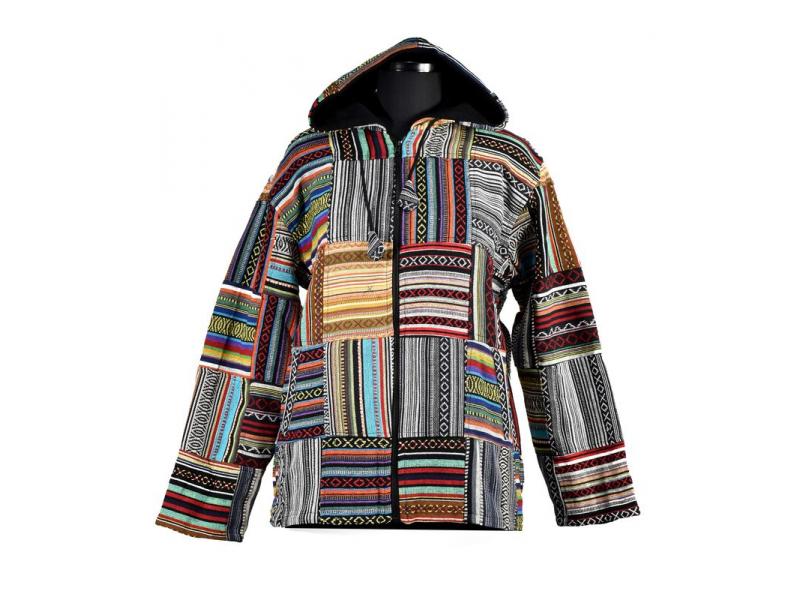Unisex tibetská patchworková bunda s kapucí, zapínání na zip, kapsy, zelená