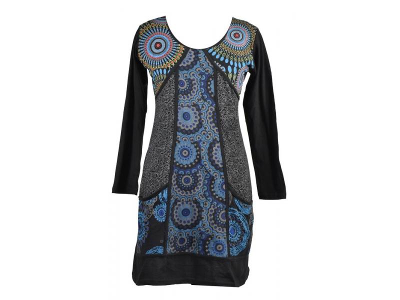 Černo-modré šaty s kapsami, mandalový potisk, V výstřih