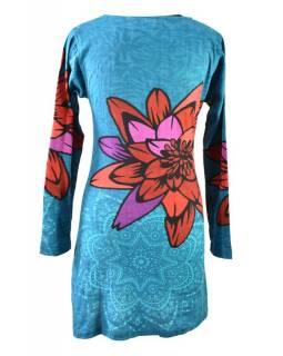 Tyrkysové šaty s dlouhým rukávem a potiskem mandal,