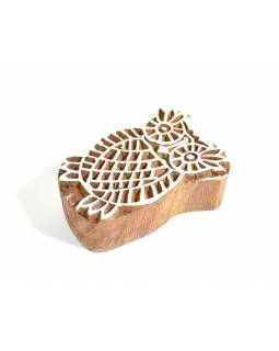 Sova - razítko vyřezávané ze dřeva, ruční práce, 6x4cm