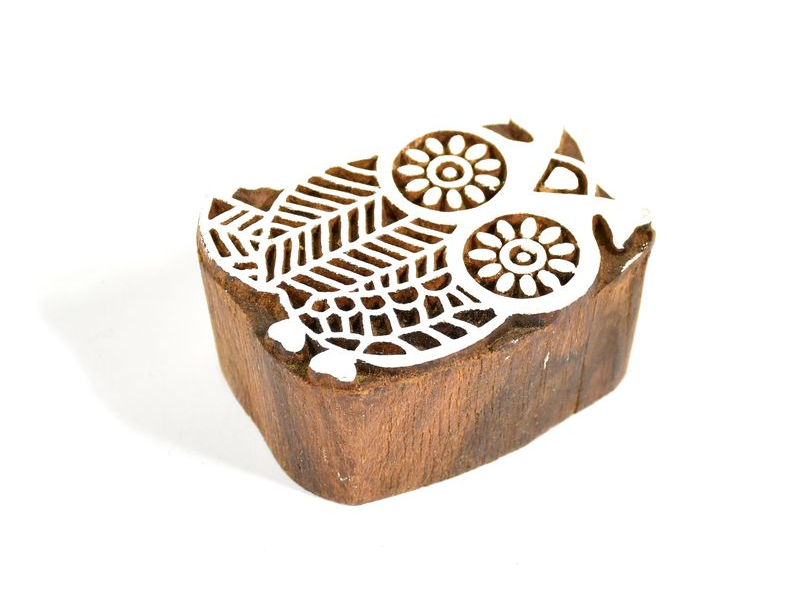 Sova 2 - razítko vyřezávané ze dřeva, ruční práce, 6x4cm
