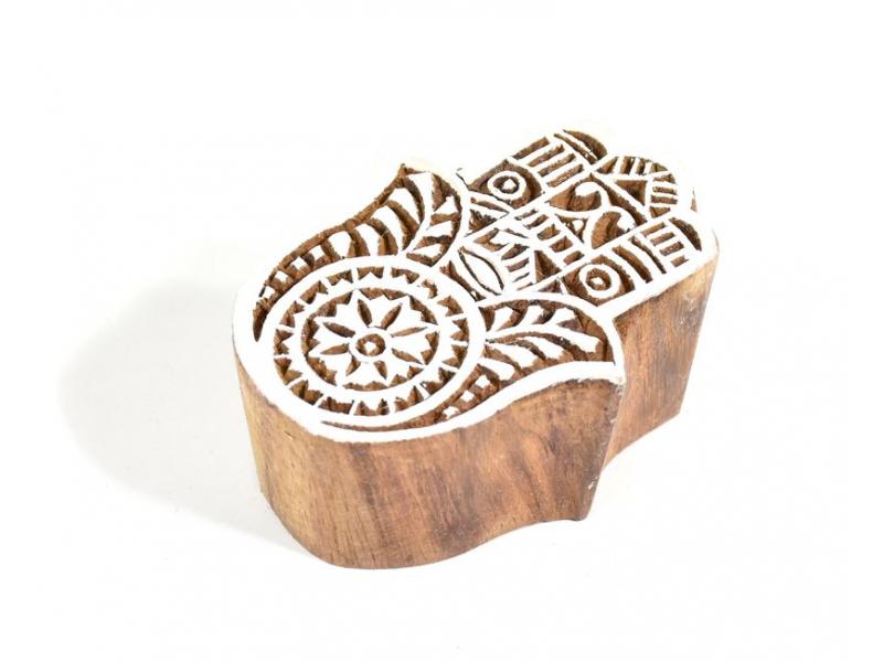 Ruka Fátimy (Hamsa) - razítko vyřezávané ze dřeva, ruční práce, 6x5cm