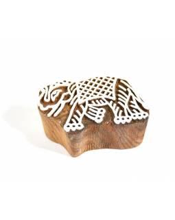 Slon - razítko vyřezávané ze dřeva, ruční práce, 6,5x4cm