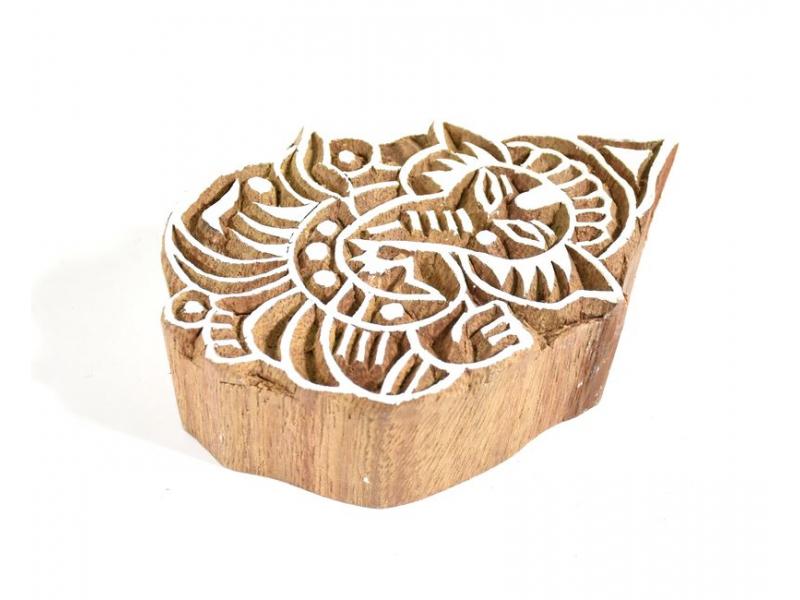 Ganéša - razítko vyřezávané ze dřeva, ruční práce, 7x5cm