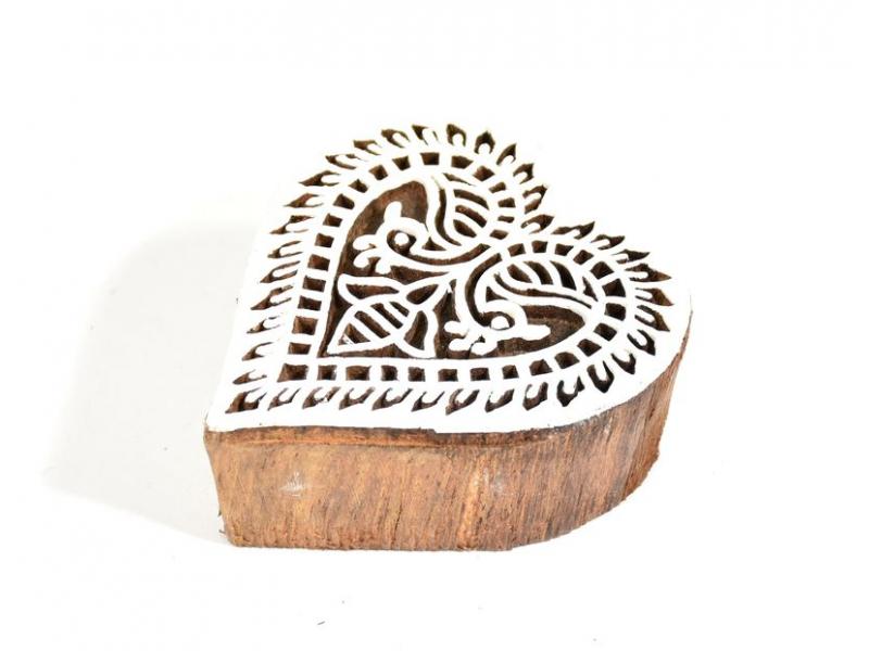 Srdce - razítko vyřezávané ze dřeva, ruční práce, 6x6cm