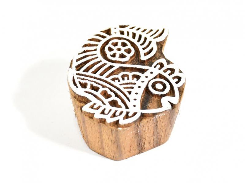 Ryba - razítko vyřezávané ze dřeva, ruční práce, 6x6cm