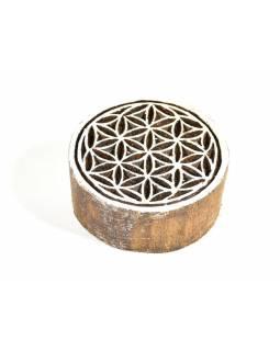 Mandala - razítko vyřezávané ze dřeva, ruční práce, 7x6cm