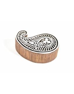 Paisley - razítko vyřezávané ze dřeva, ruční práce, 7x6cm