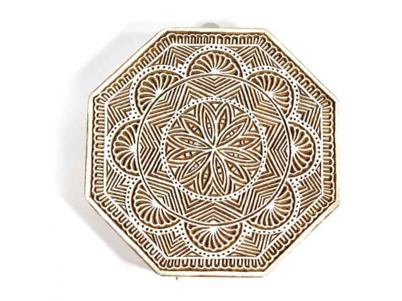 """Vyřezávané razítko """"Mandala"""", ruční práce, palisandr, 18x18cm"""