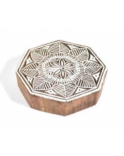 """Vyřezávané razítko """"Mandala"""", ruční práce, palisandr, 11x11cm"""