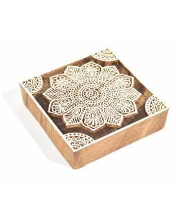 """Vyřezávané razítko """"Mandala"""", ruční práce, palisandr, 10x10cm"""