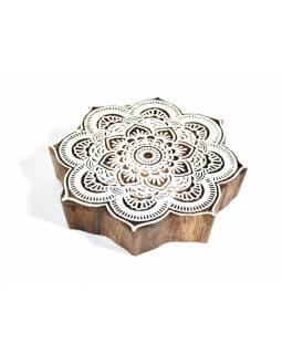 """Vyřezávané razítko """"Flover Mandala"""", ruční práce, palisandr, 13x13cm"""