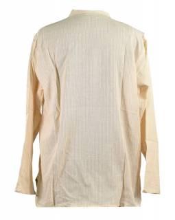 Pruhovaná pánská košile-kurta s dlouhým rukávem a kapsičkou, bílo-béžová