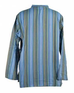 Pruhovaná pánská košile-kurta s dlouhým rukávem a kapsičkou, modrá
