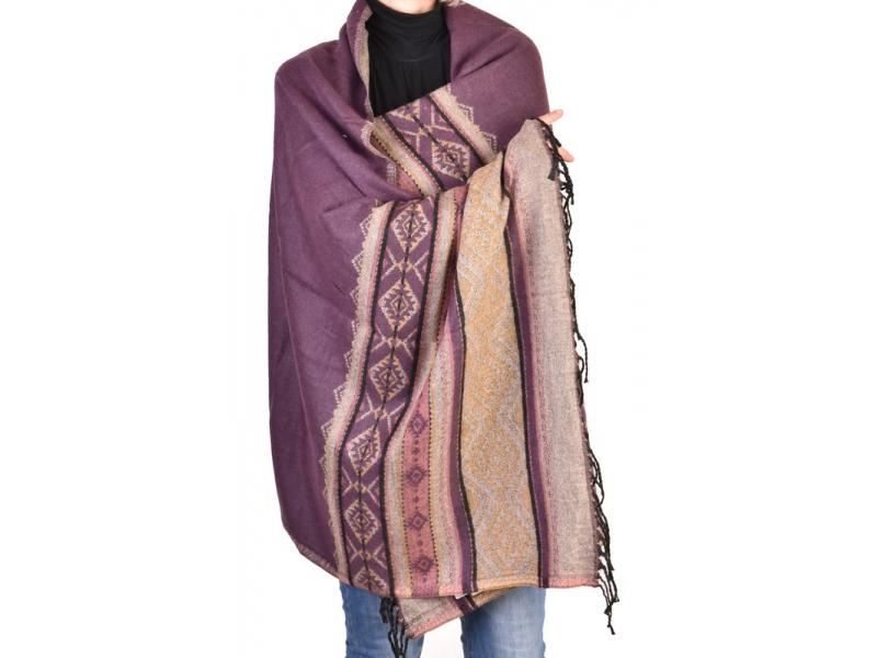 Velký zimní šál se vzorem, fialová, 205x95cm
