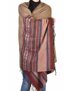 Velký zimní šál se vzorem, hnědo-růžová, 205x95cm