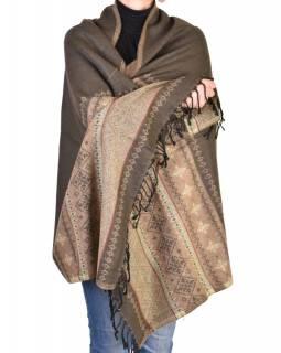 Velký zimní šál se vzorem, hnědá, 205x95cm