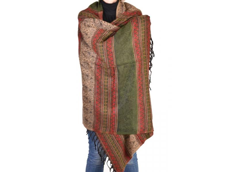 Velký zimní šál se vzorem, khaki-červená, 205x95cm