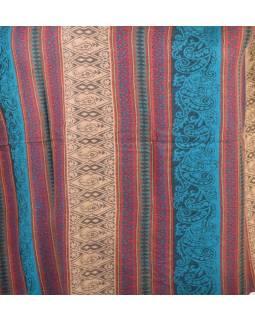 Velký zimní šál se vzorem, tyrkysová, 205x95cm