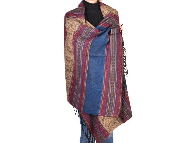 Velký zimní šál se vzorem, tmavě modrá, 205x95cm