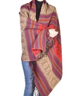 Velký zimní šál se vzorem, červená, 205x95cm