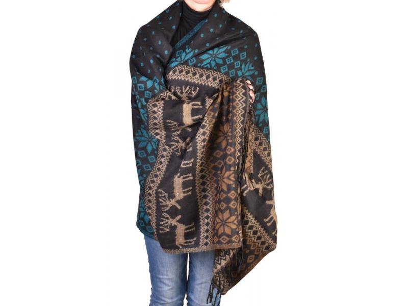 Velký zimní šál se vzorem jelenů, černo-tyrkysová, 205x95cm